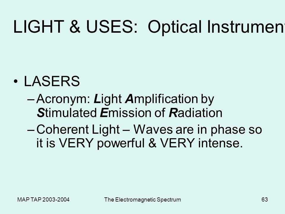 MAP TAP 2003-2004The Electromagnetic Spectrum62 Telescopes Refracting telescopes – use two convex lenses Reflecting telescopes use a concave mirror to