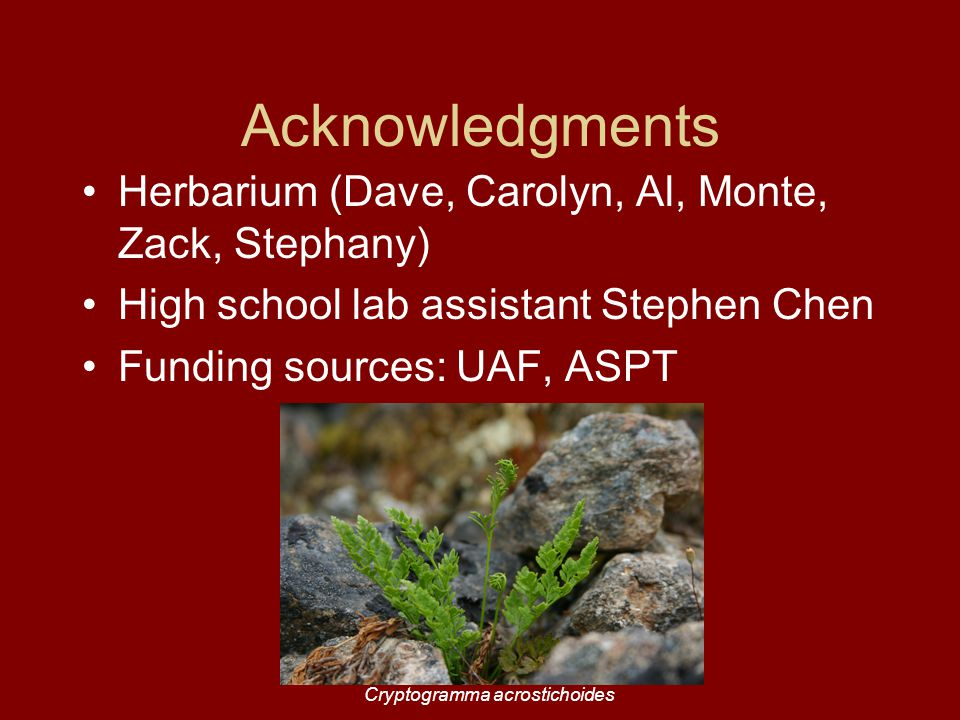 Acknowledgments Herbarium (Dave, Carolyn, Al, Monte, Zack, Stephany) High school lab assistant Stephen Chen Funding sources: UAF, ASPT Cryptogramma acrostichoides