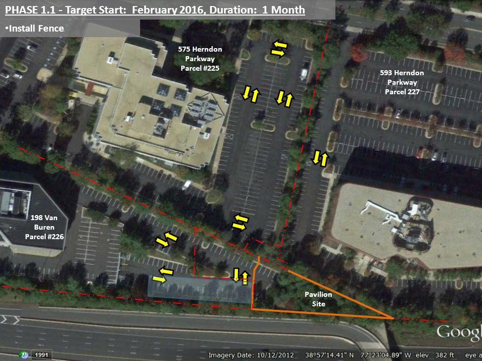 Install Fence PHASE 1.1 - Target Start: February 2016, Duration: 1 Month 198 Van Buren Parcel #226 575 Herndon Parkway Parcel #225 593 Herndon Parkway Parcel 227 Pavilion Site