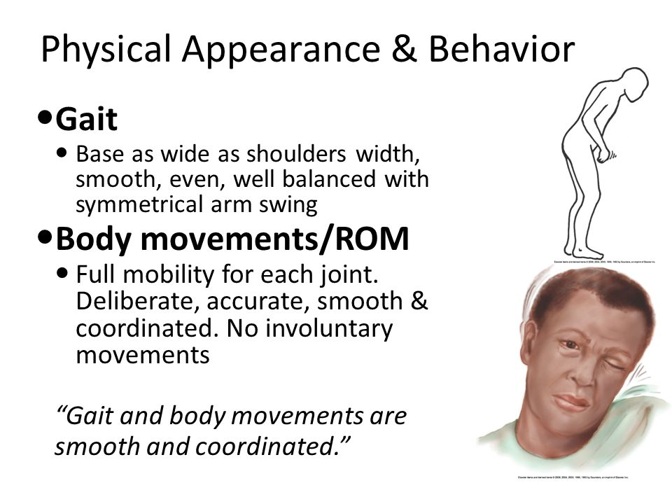 Physical Appearance & Behavior Gait Base as wide as shoulders width, smooth, even, well balanced with symmetrical arm swing Body movements/ROM Full mobility for each joint.