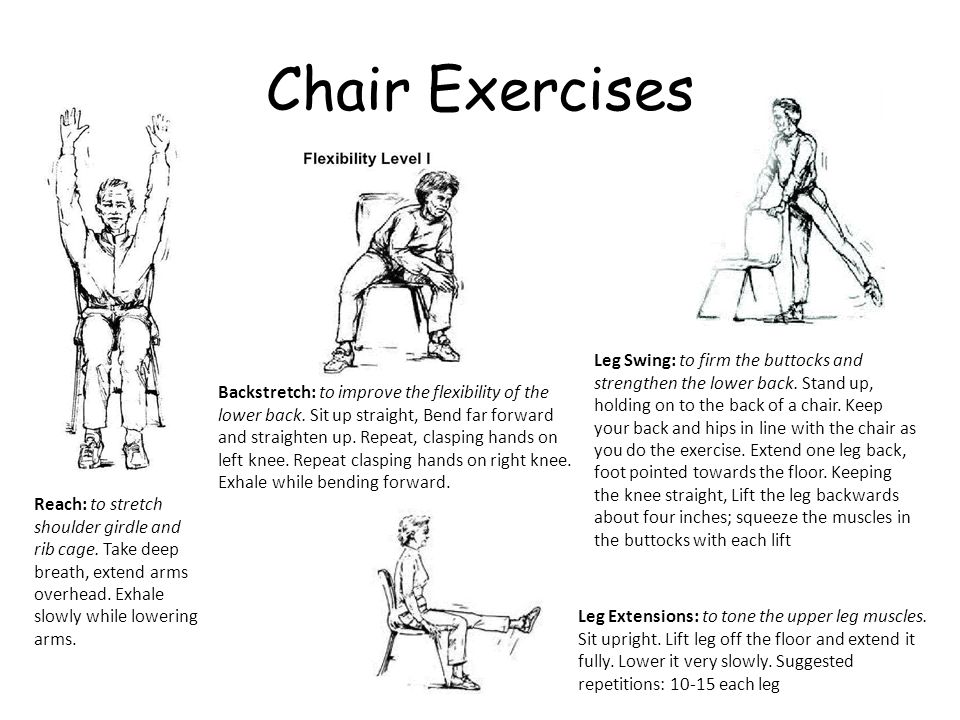Chair Exercises Leg Swing: to firm the buttocks and strengthen the lower back. Stand up, holding on to the back of a chair. Keep your back and hips in