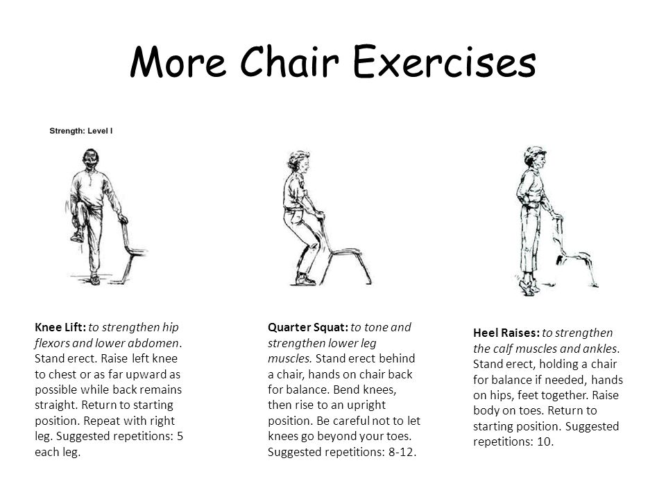 More Chair Exercises Heel Raises: to strengthen the calf muscles and ankles.