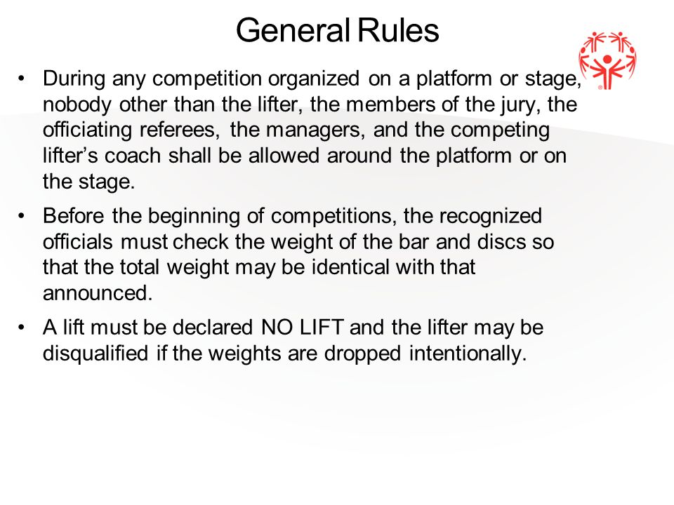 Causes for Disqualification in Bench Press During the lift, any change of the lifting position.
