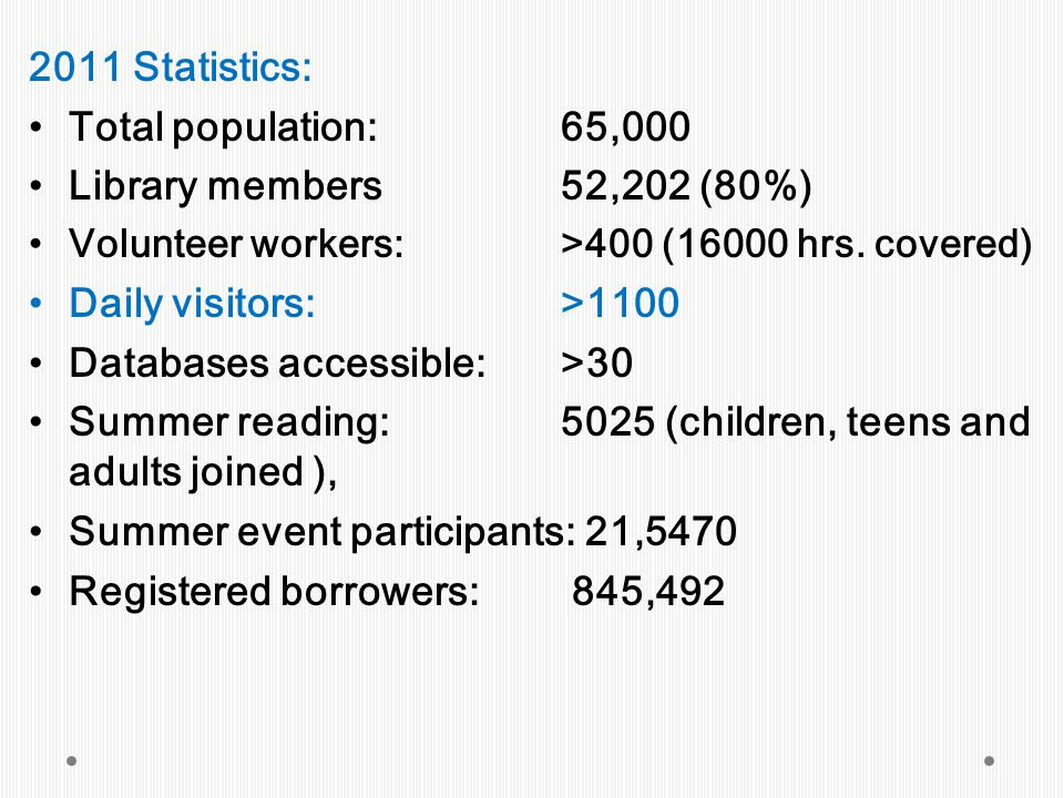 2011 Statistics: Total population:65,000 Library members52,202 (80%) Volunteer workers:>400 (16000 hrs.