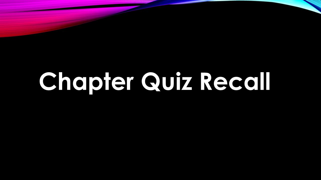 Chapter Quiz Recall