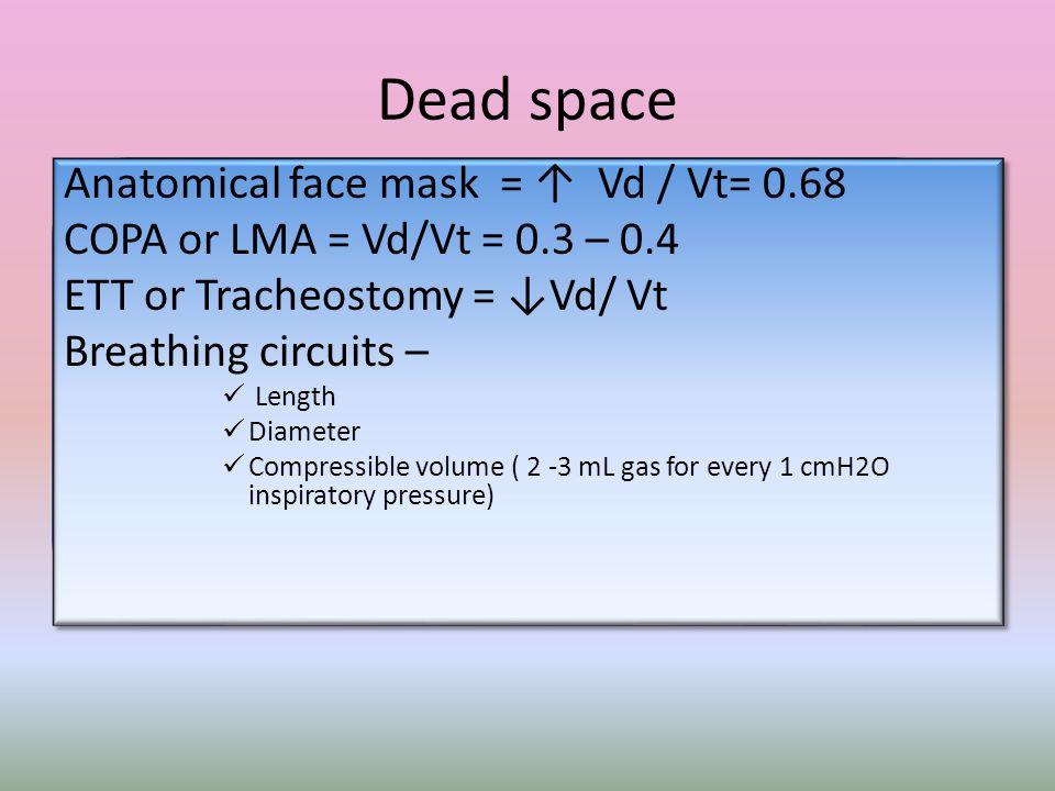 Dead space Anatomical face mask = ↑ Vd / Vt= 0.68 COPA or LMA = Vd/Vt = 0.3 – 0.4 ETT or Tracheostomy = ↓Vd/ Vt Breathing circuits – Length Diameter C