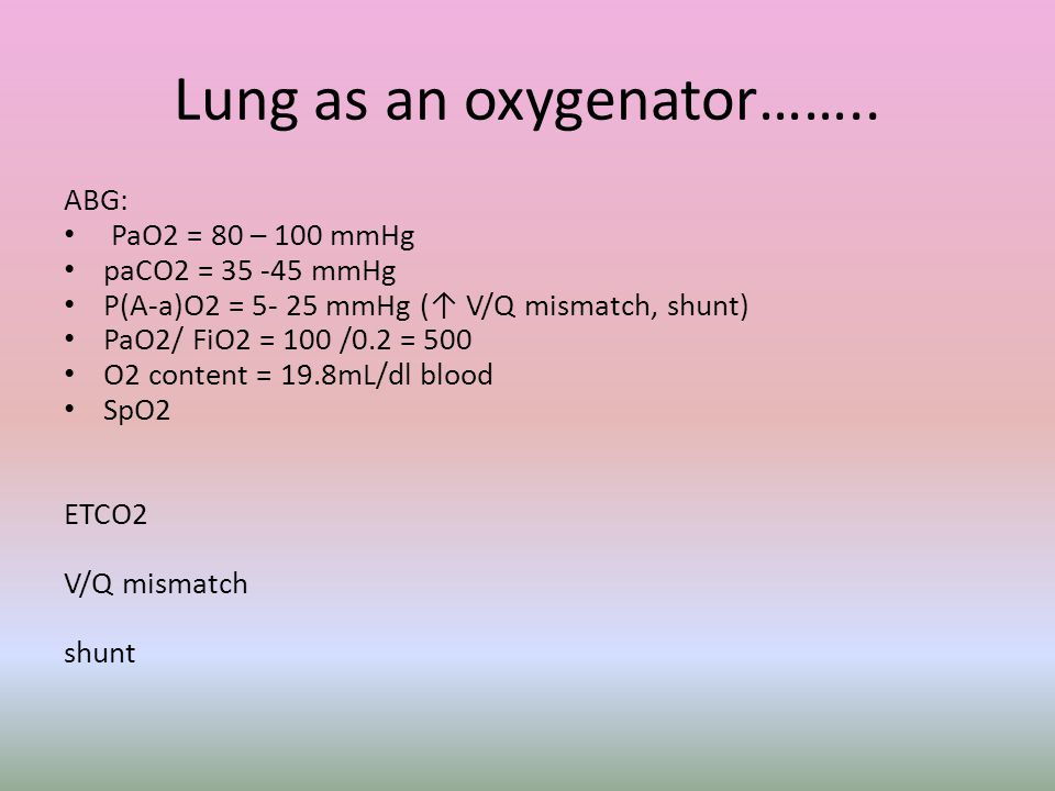 Lung as an oxygenator……..
