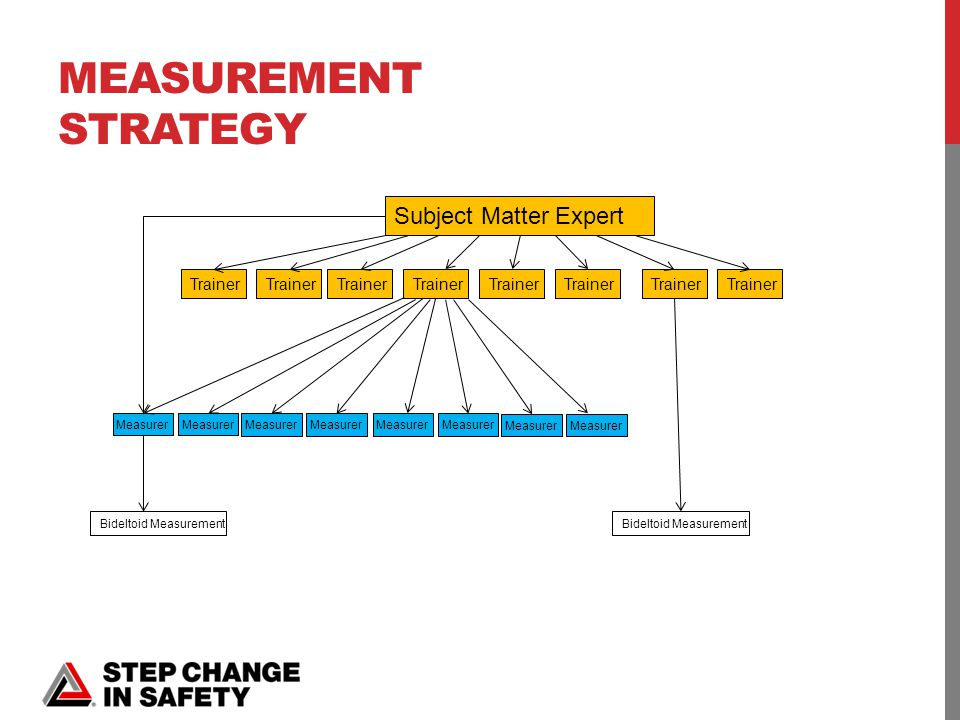 MEASUREMENT STRATEGY Subject Matter Expert Trainer Measurer Bideltoid Measurement