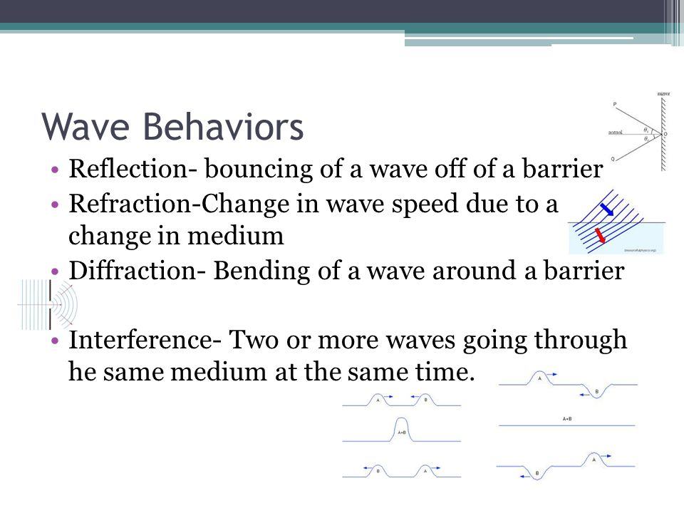 Wave Behaviors Reflection- bouncing of a wave off of a barrier Refraction-Change in wave speed due to a change in medium Diffraction- Bending of a wav