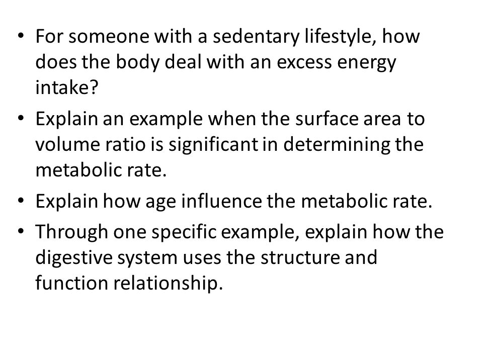 For someone with a sedentary lifestyle, how does the body deal with an excess energy intake? Explain an example when the surface area to volume ratio