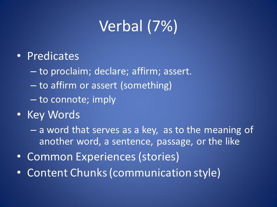 Verbal (7%) Predicates – to proclaim; declare; affirm; assert.