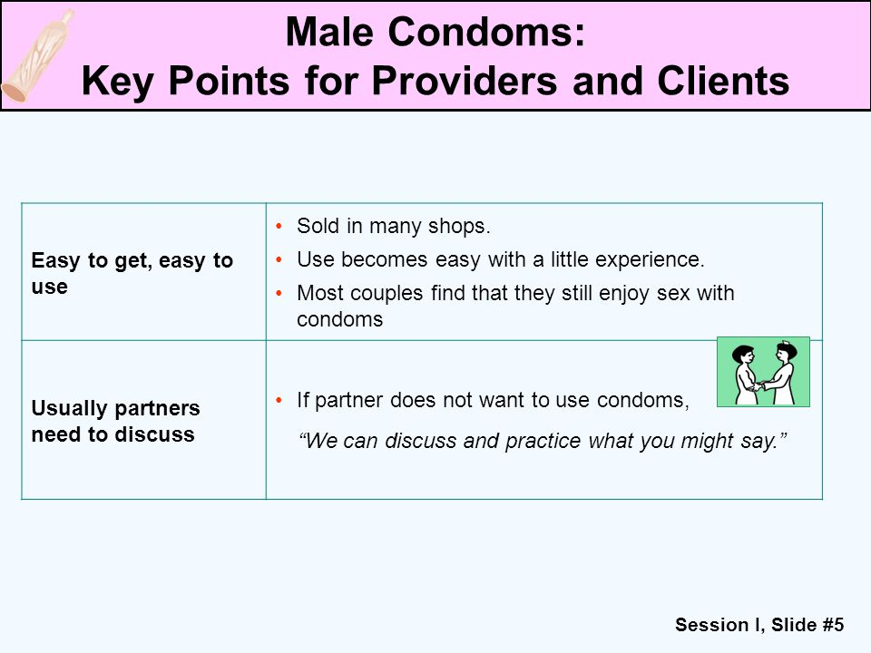 Session I, Slide #5 Easy to get, easy to use Sold in many shops. Use becomes easy with a little experience. Most couples find that they still enjoy se