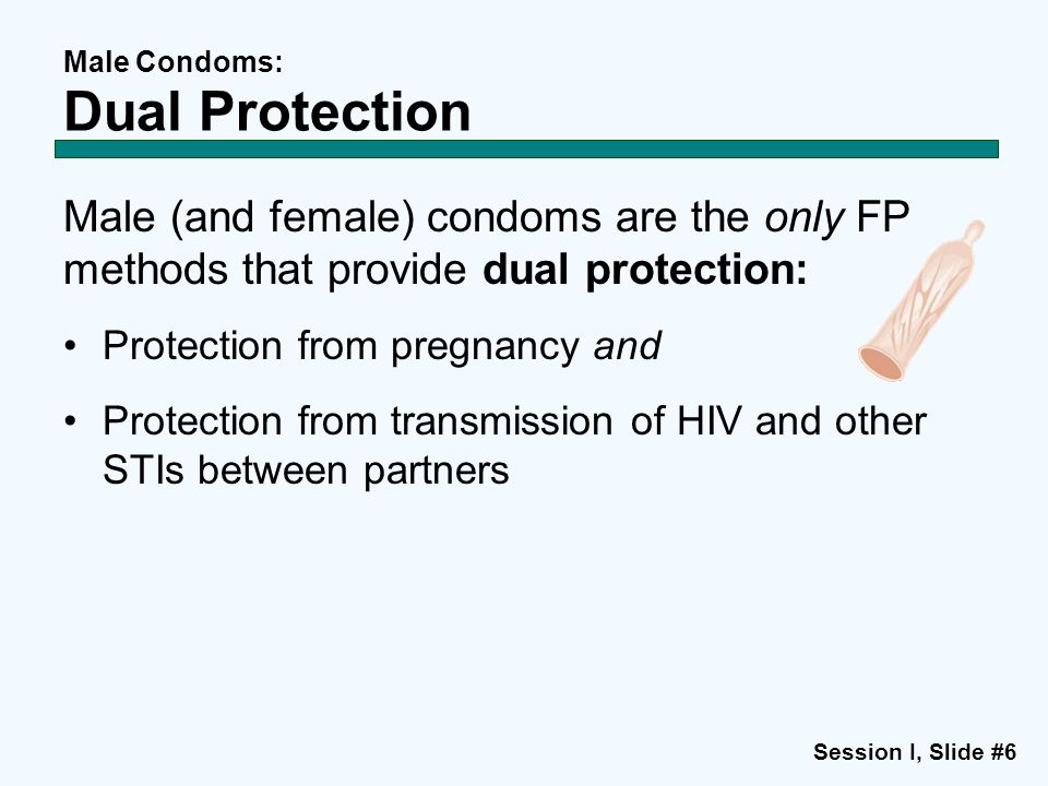 Session I, Slide #6 Male Condoms: Dual Protection Male (and female) condoms are the only FP methods that provide dual protection: Protection from preg