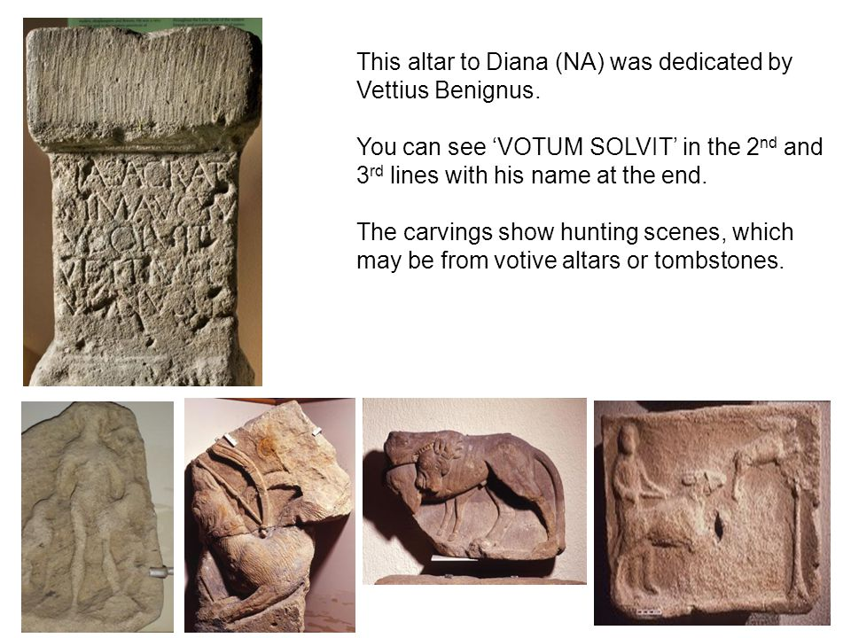 This altar to Diana (NA) was dedicated by Vettius Benignus. You can see 'VOTUM SOLVIT' in the 2 nd and 3 rd lines with his name at the end. The carvin