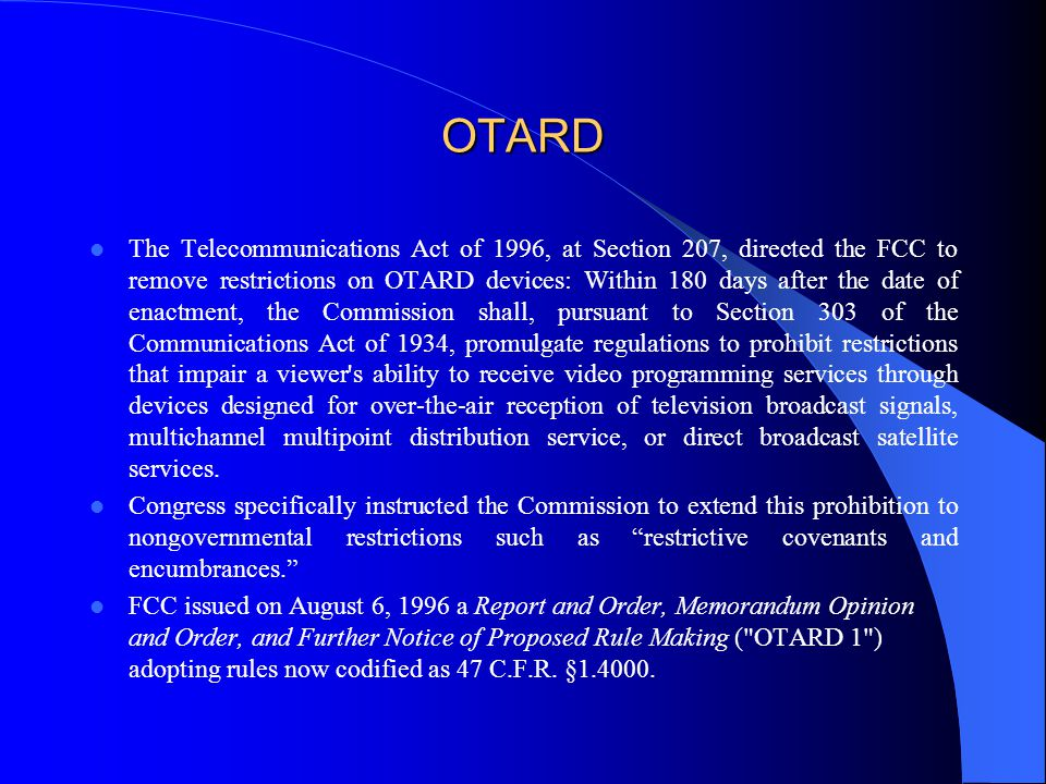 FCC Found That It Has Jurisdiction to Preempt Covenants in the OTARD Proceeding In FCC v.