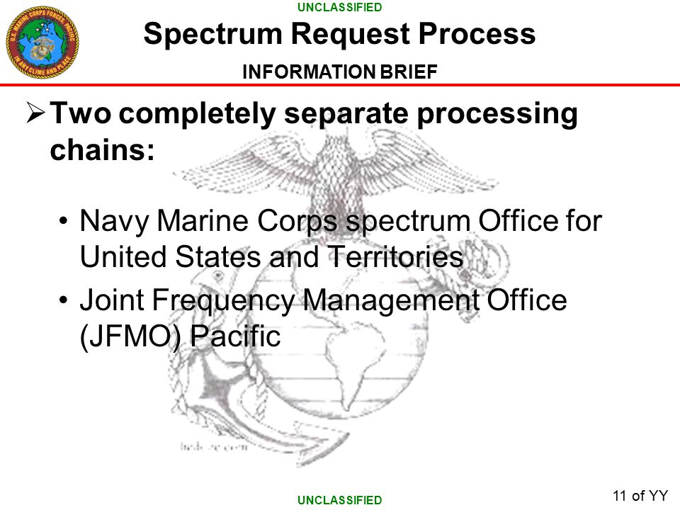 UNCLASSIFIED INFORMATION BRIEF 11 of YY  Two completely separate processing chains: Navy Marine Corps spectrum Office for United States and Territories Joint Frequency Management Office (JFMO) Pacific Spectrum Request Process