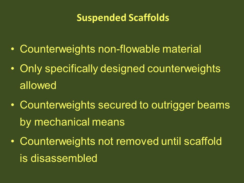 Counterweights non-flowable material Only specifically designed counterweights allowed Counterweights secured to outrigger beams by mechanical means C