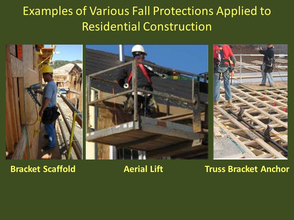 Examples of Various Fall Protections Applied to Residential Construction Bracket Scaffold Aerial Lift Truss Bracket Anchor