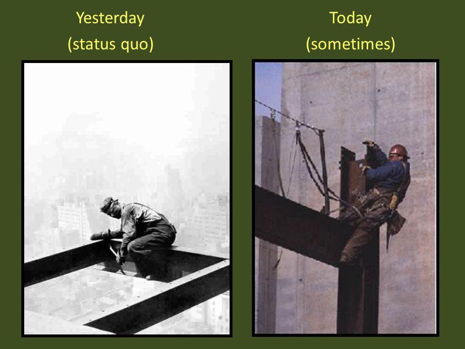 Yesterday (status quo) Today (sometimes)