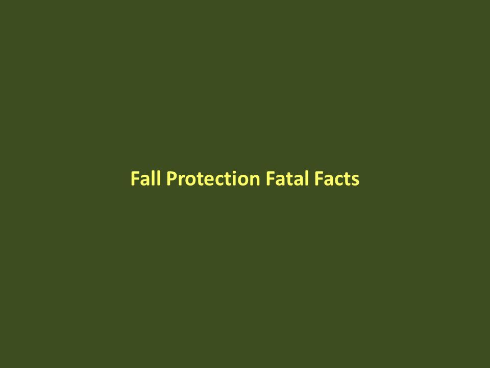 Fall Protection Fatal Facts