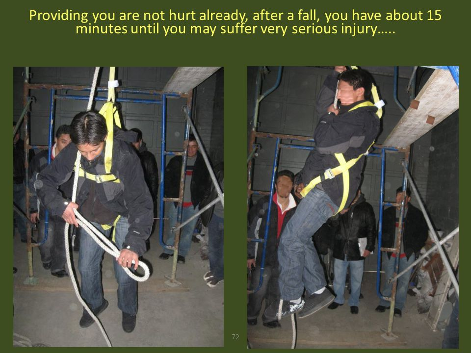 72 Providing you are not hurt already, after a fall, you have about 15 minutes until you may suffer very serious injury…..