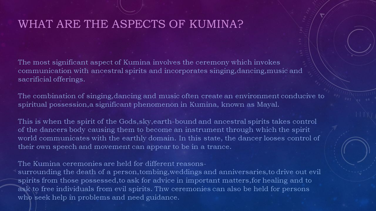 WHAT ARE THE ASPECTS OF KUMINA.