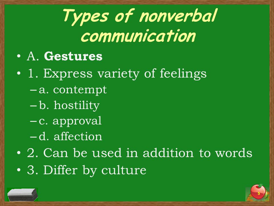 Types of nonverbal communication A. Gestures 1. Express variety of feelings – a. contempt – b. hostility – c. approval – d. affection 2. Can be used i