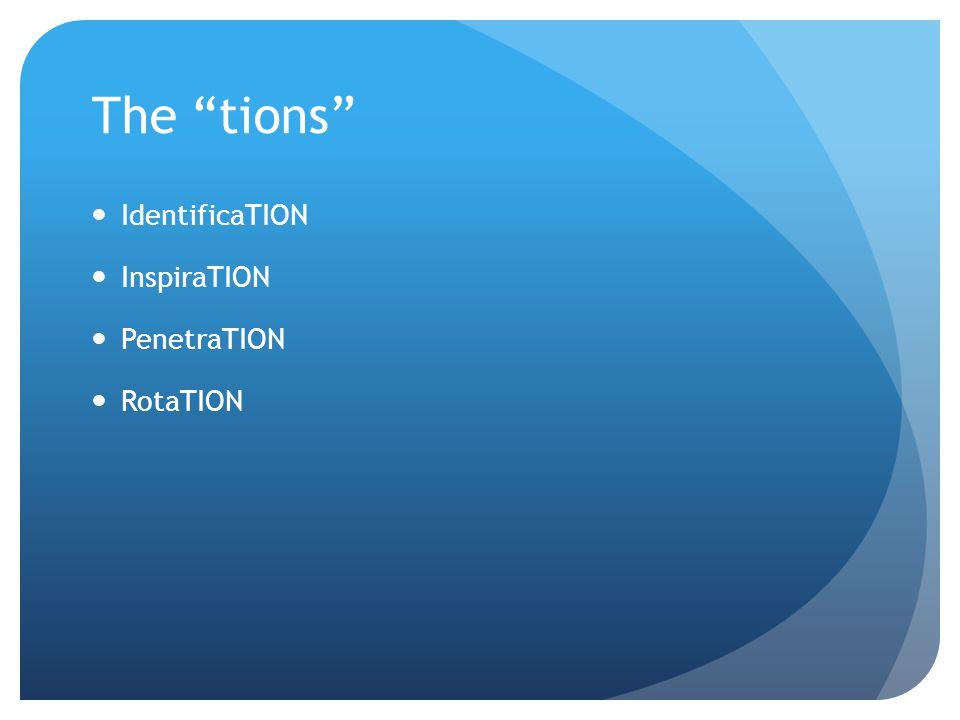 "The ""tions"" IdentificaTION InspiraTION PenetraTION RotaTION"
