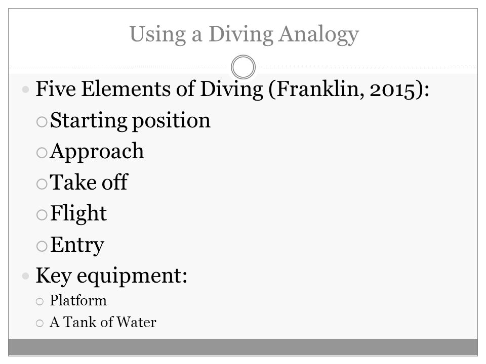 Using a Diving Analogy Five Elements of Diving (Franklin, 2015):  Starting position  Approach  Take off  Flight  Entry Key equipment:  Platform  A Tank of Water