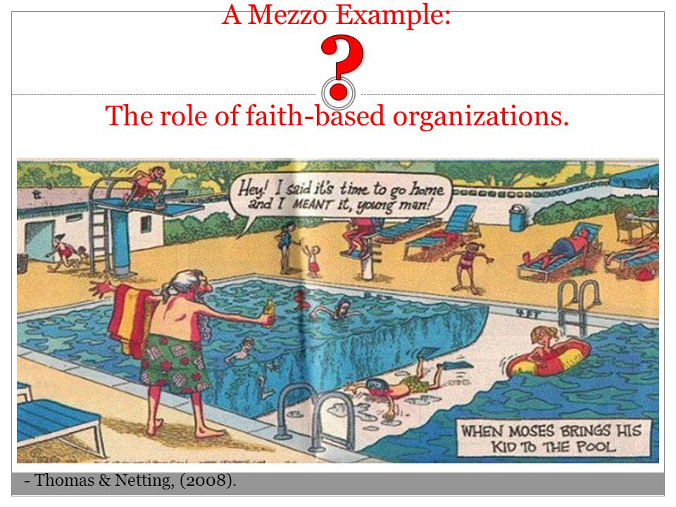 A Mezzo Example: The role of faith-based organizations. - Thomas & Netting, (2008).