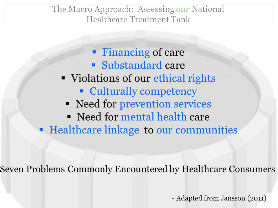 The Macro Approach: Assessing our National Healthcare Treatment Tank  Financing of care  Substandard care  Violations of our ethical rights  Culturally competency  Need for prevention services  Need for mental health care  Healthcare linkage to our communities - Adapted from Jansson (2011) Seven Problems Commonly Encountered by Healthcare Consumers