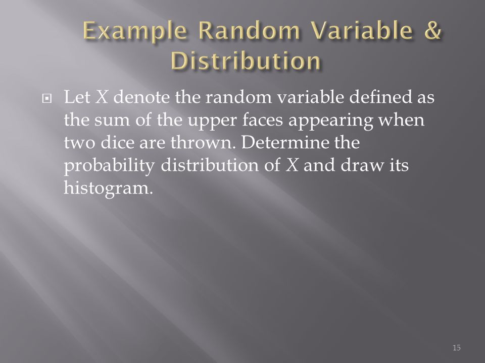  Let X denote the random variable defined as the sum of the upper faces appearing when two dice are thrown. Determine the probability distribution of