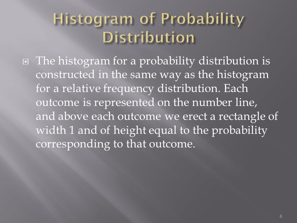  The histogram for a probability distribution is constructed in the same way as the histogram for a relative frequency distribution. Each outcome is