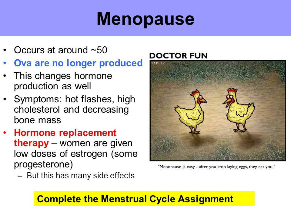 Menopause Occurs at around ~50 Ova are no longer produced This changes hormone production as well Symptoms: hot flashes, high cholesterol and decreasi