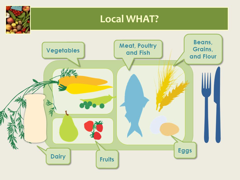 Local WHAT? Vegetables Meat, Poultry and Fish Beans, Grains, and Flour Dairy Fruits Eggs
