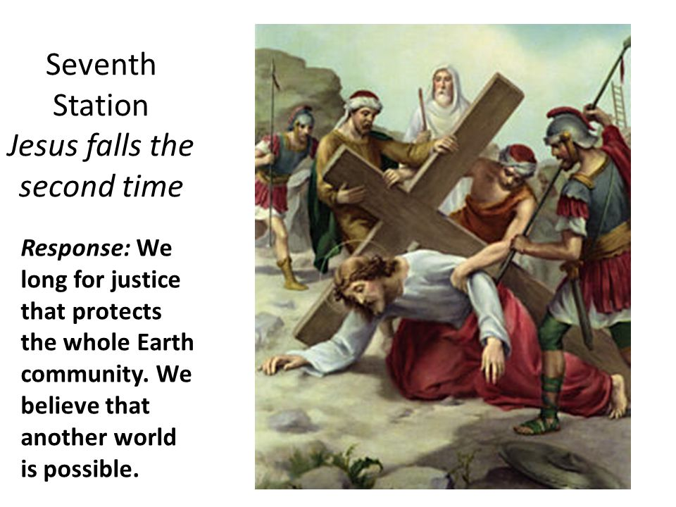 Seventh Station Jesus falls the second time Response: We long for justice that protects the whole Earth community.