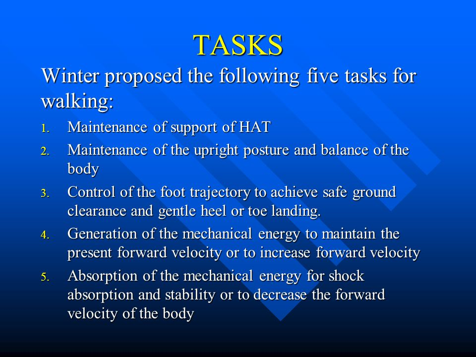 TASKS Winter proposed the following five tasks for walking: 1. Maintenance of support of HAT 2. Maintenance of the upright posture and balance of the