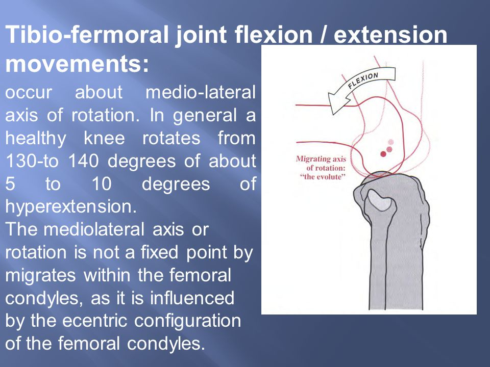 occur about medio-lateral axis of rotation. In general a healthy knee rotates from 130-to 140 degrees of about 5 to 10 degrees of hyperextension. The