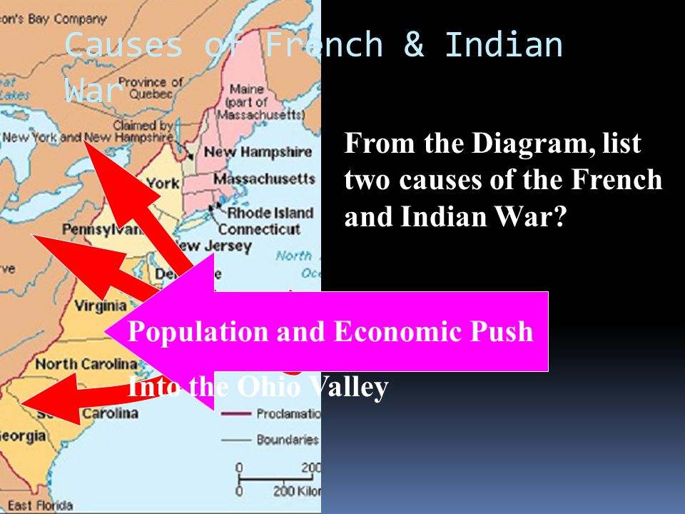 Population and Economic Push Into the Ohio Valley Causes of French & Indian War From the Diagram, list two causes of the French and Indian War?