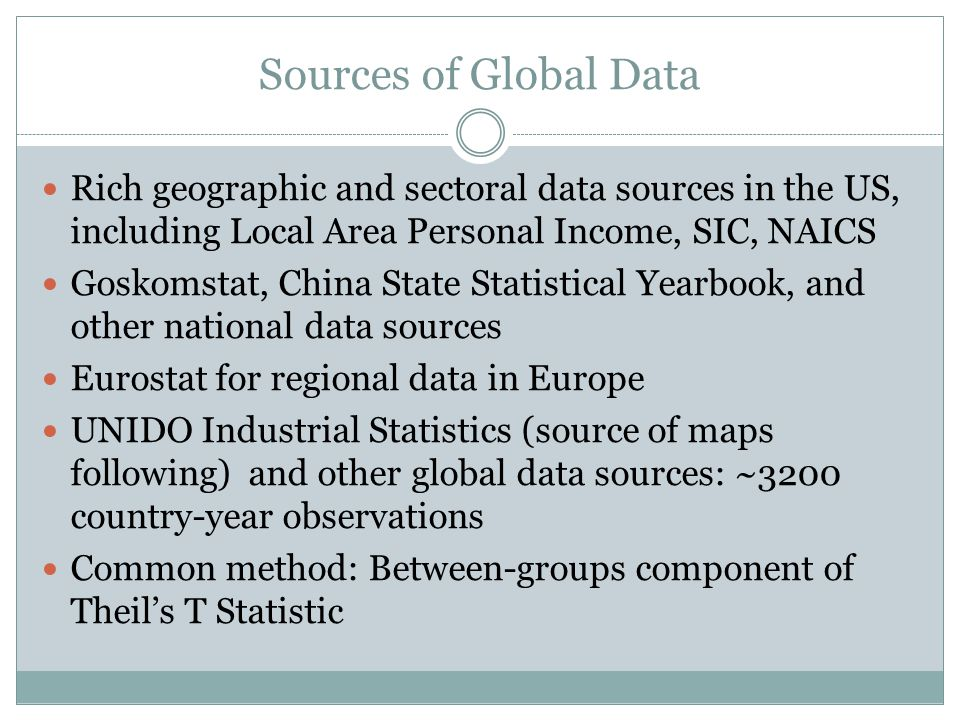 Sources of Global Data Rich geographic and sectoral data sources in the US, including Local Area Personal Income, SIC, NAICS Goskomstat, China State Statistical Yearbook, and other national data sources Eurostat for regional data in Europe UNIDO Industrial Statistics (source of maps following) and other global data sources: ~3200 country-year observations Common method: Between-groups component of Theil's T Statistic