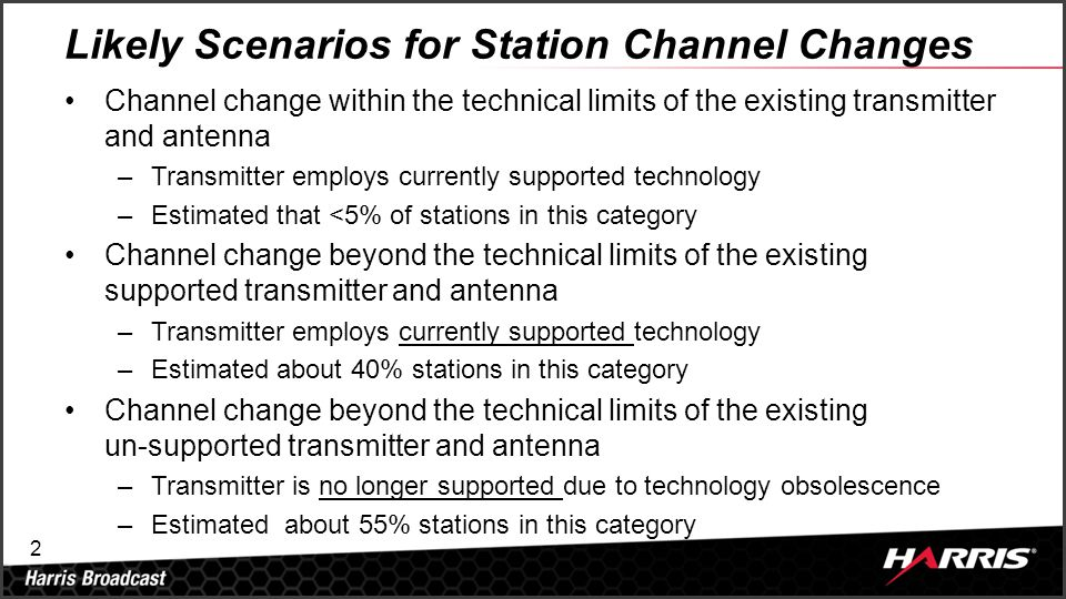 2 Likely Scenarios for Station Channel Changes Channel change within the technical limits of the existing transmitter and antenna –Transmitter employs