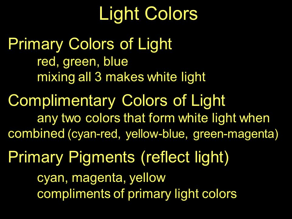 Light Colors Primary Colors of Light red, green, blue mixing all 3 makes white light Complimentary Colors of Light any two colors that form white light when combined (cyan-red, yellow-blue, green-magenta) Primary Pigments (reflect light) cyan, magenta, yellow compliments of primary light colors