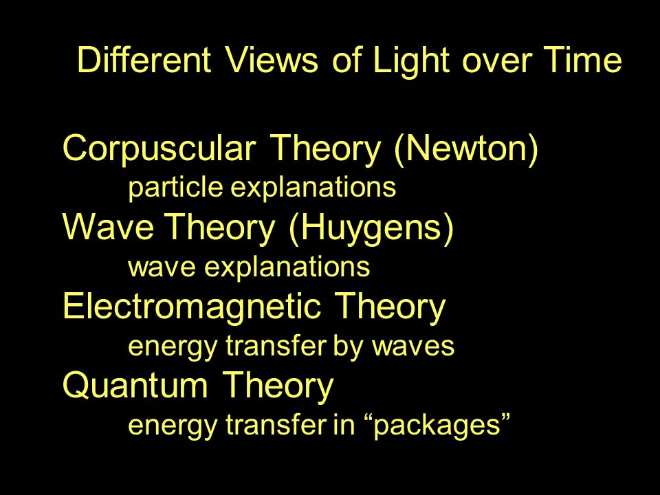 Different Views of Light over Time Corpuscular Theory (Newton) particle explanations Wave Theory (Huygens) wave explanations Electromagnetic Theory energy transfer by waves Quantum Theory energy transfer in packages