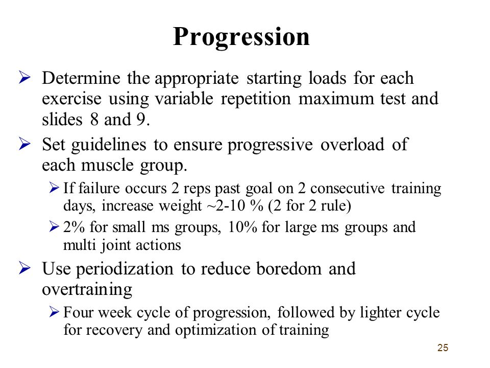 25 Progression  Determine the appropriate starting loads for each exercise using variable repetition maximum test and slides 8 and 9.