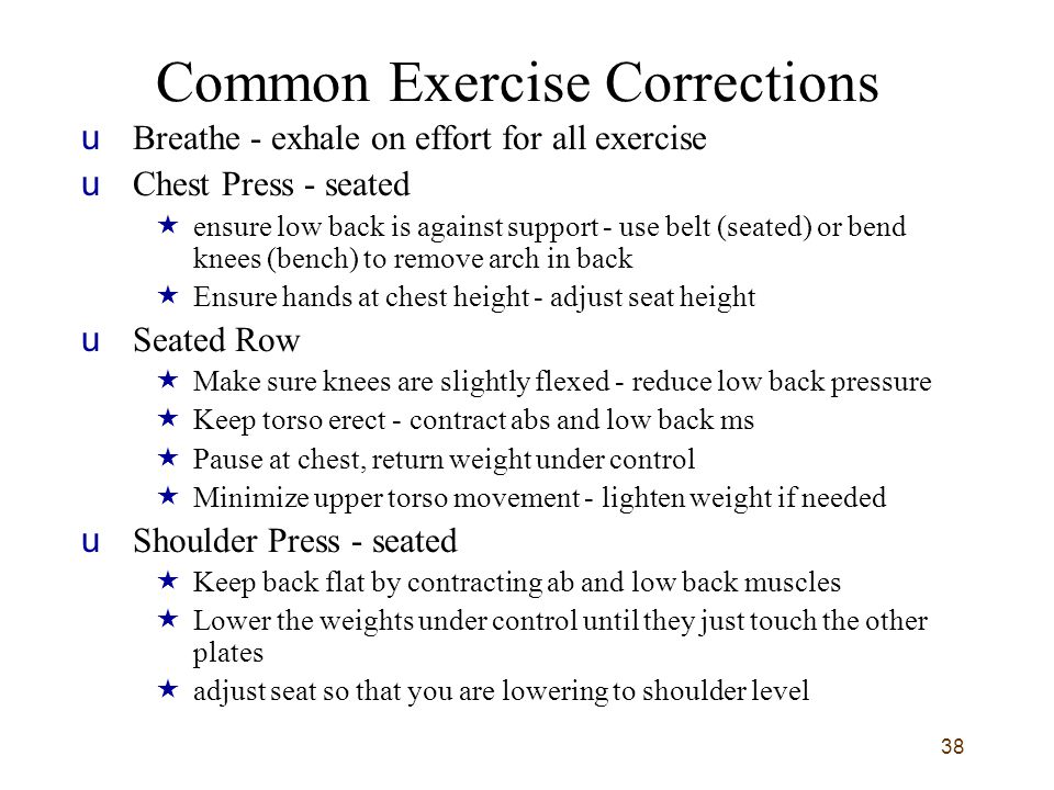 38 Common Exercise Corrections uBreathe - exhale on effort for all exercise uChest Press - seated  ensure low back is against support - use belt (sea