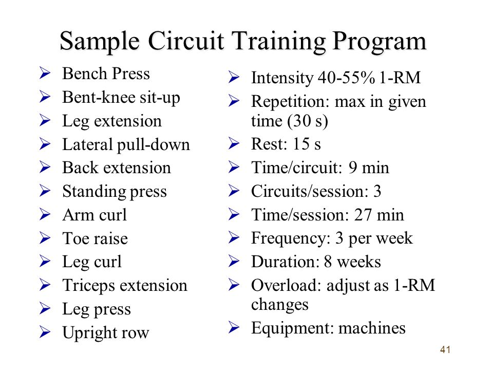 41 Sample Circuit Training Program  Bench Press  Bent-knee sit-up  Leg extension  Lateral pull-down  Back extension  Standing press  Arm curl  Toe raise  Leg curl  Triceps extension  Leg press  Upright row  Intensity 40-55% 1-RM  Repetition: max in given time (30 s)  Rest: 15 s  Time/circuit: 9 min  Circuits/session: 3  Time/session: 27 min  Frequency: 3 per week  Duration: 8 weeks  Overload: adjust as 1-RM changes  Equipment: machines
