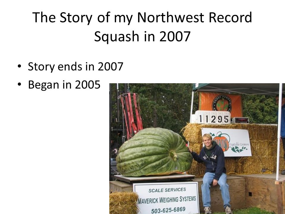 The Story of my Northwest Record Squash in 2007 Story ends in 2007 Began in 2005