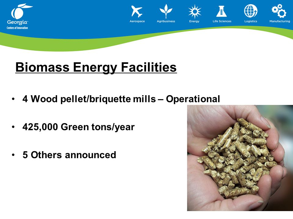 Biomass Energy Facilities 4 Wood pellet/briquette mills – Operational 425,000 Green tons/year 5 Others announced