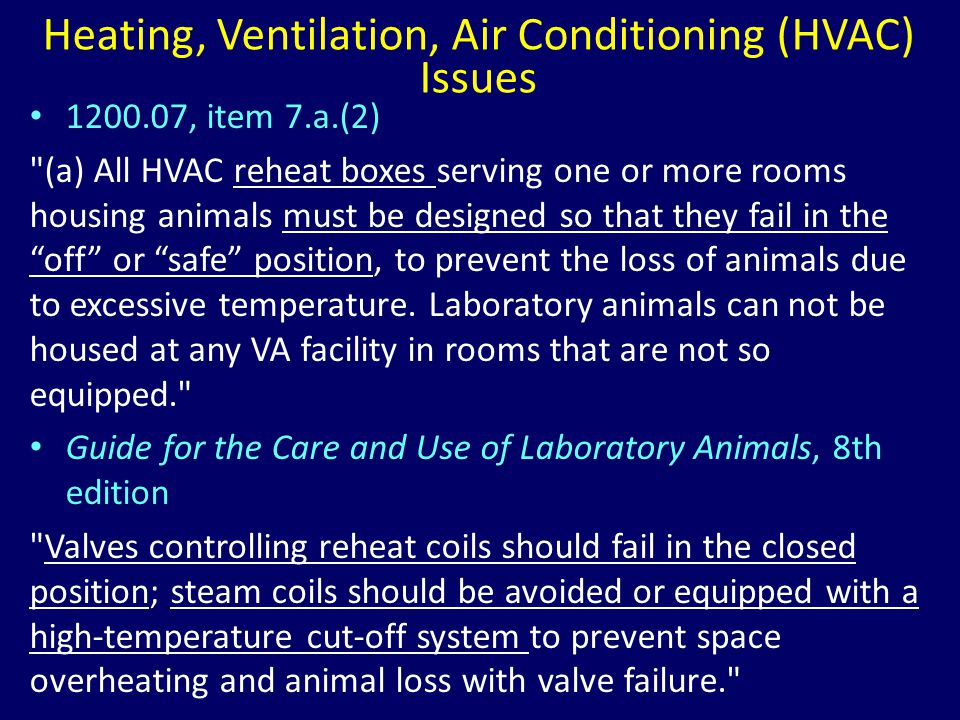 Heating, Ventilation, Air Conditioning (HVAC) Issues 1200.07, item 7.a.(2)