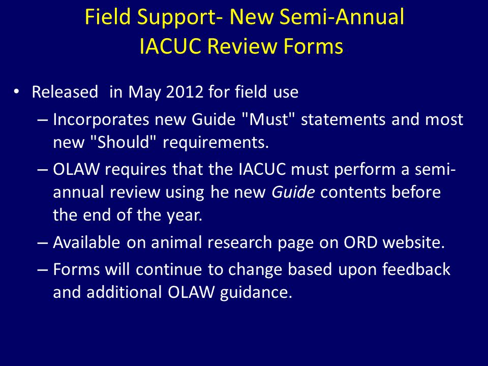 Released in May 2012 for field use – Incorporates new Guide